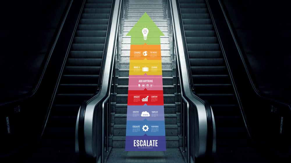 creative arrow steps diagram stairs prezi template for presentations