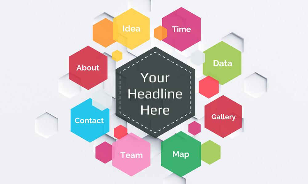 Colorful hexagon diagram prezi template prezibase colorful hexagon hive shaped diagram business presentation template toneelgroepblik Images