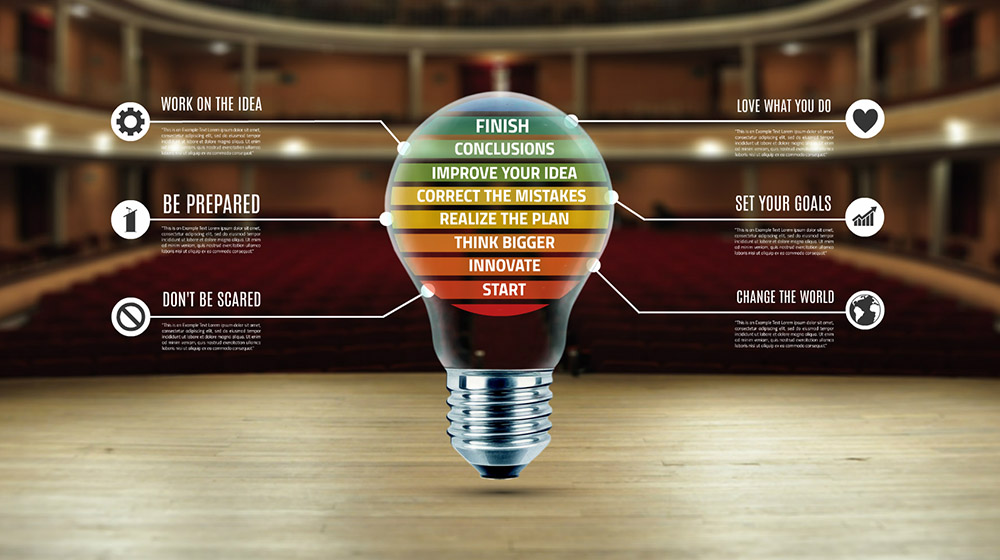 Creative idea stages light bulb on stage Prezi presentation template