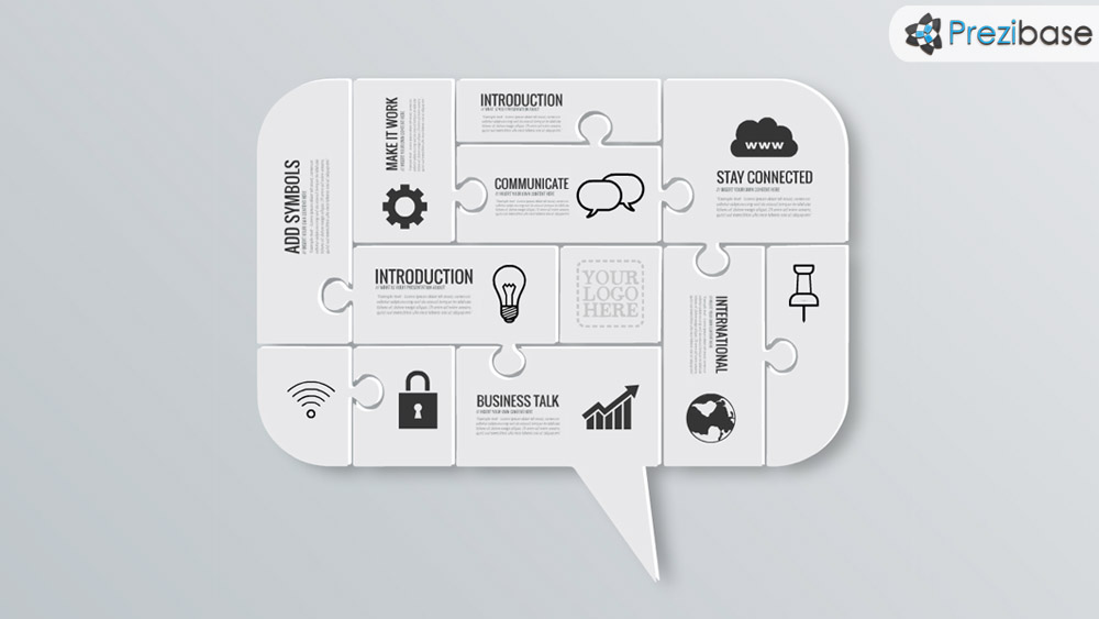 communicate speech bubble jigsaw puzzle concept prezi template
