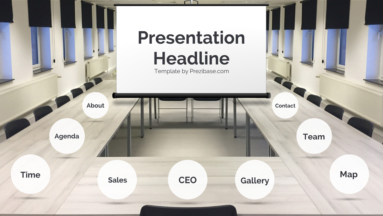 Creative company board meeting Prezi Next presentation template