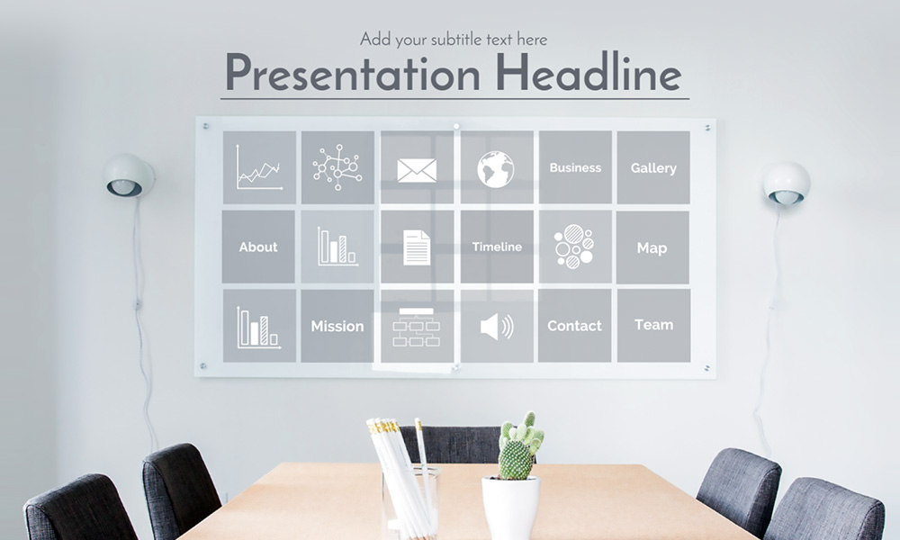 Company business introduction glass office sign presentation template for Prezi