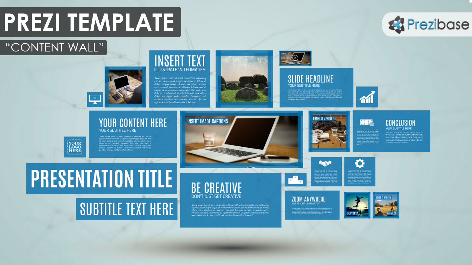 Content wall prezi template prezibase creative rectangles professional simple windows squares button lumia prezi template accmission