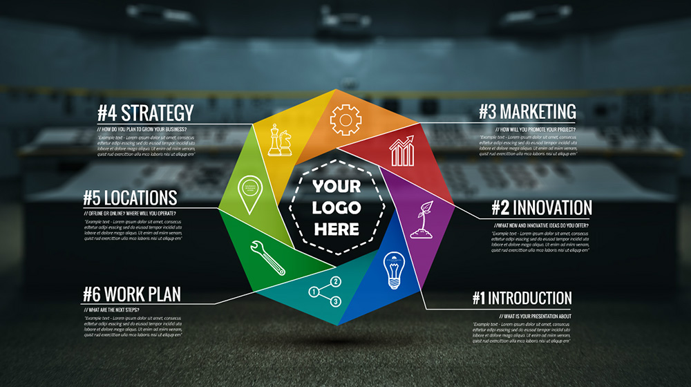 Control room prezi template prezibase 3d infographic colorful circle prezi presentation template pronofoot35fo Gallery