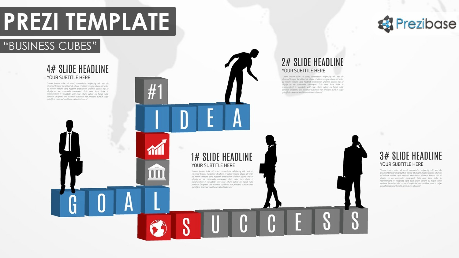 3D diagram cubes for business presentation and silhouettes infographic prezi template