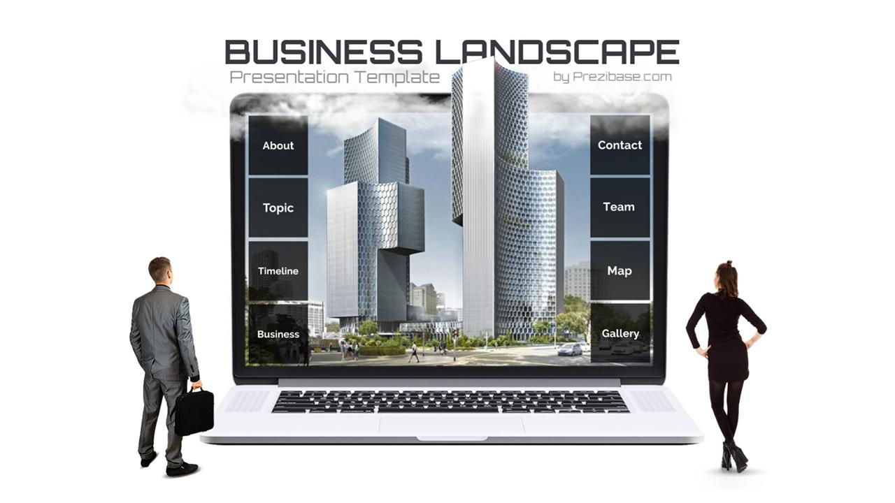 Creative 3D business landscape on laptop prezi presentation template
