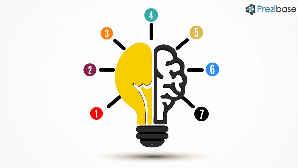 3D light bulb creative ideas brainstorm prezi template for presentations