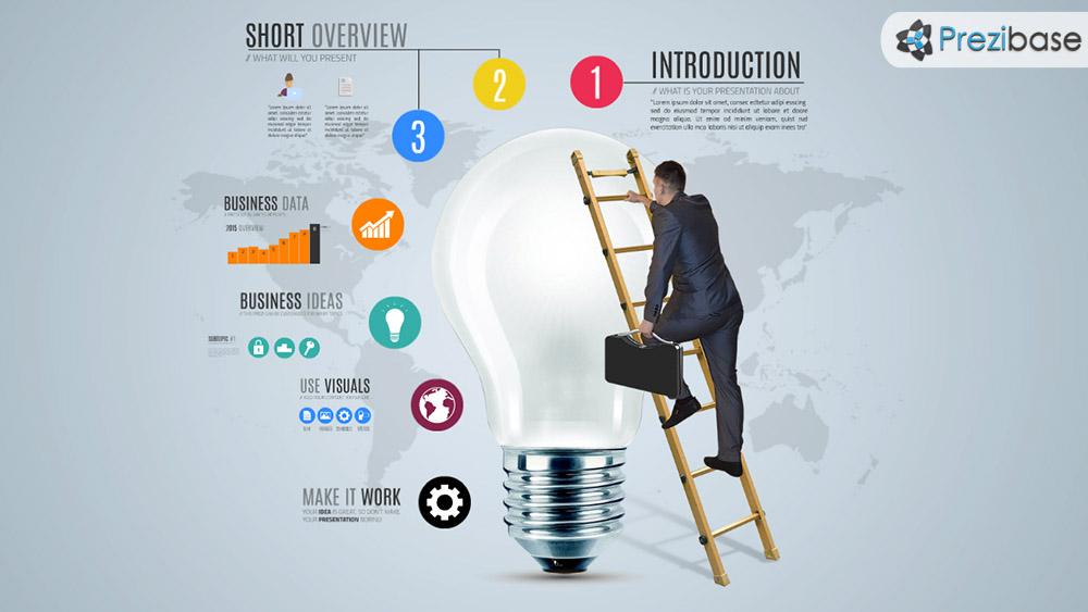 3D businessman business idea climb light bulb infographic prezi template for presentations