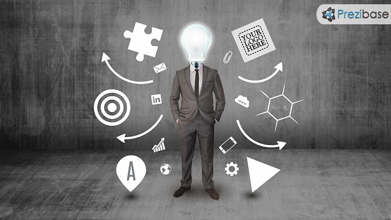 Creative businessman light bulb innovative ideas thinking company prezi template for presentations