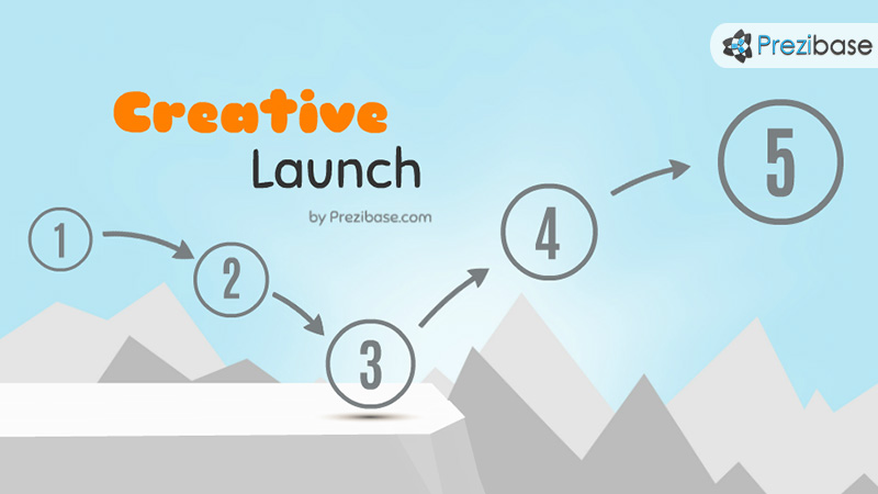 Creative start launch solve problem over cliff prezi template for presentations