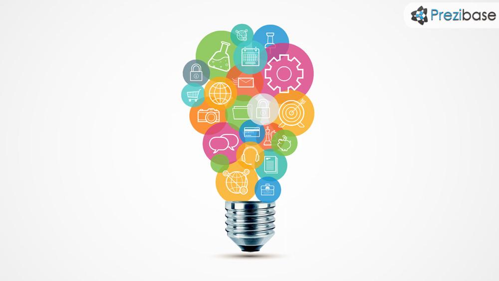 Creative light bulb from circles innovative pitch idea prezi presentation template