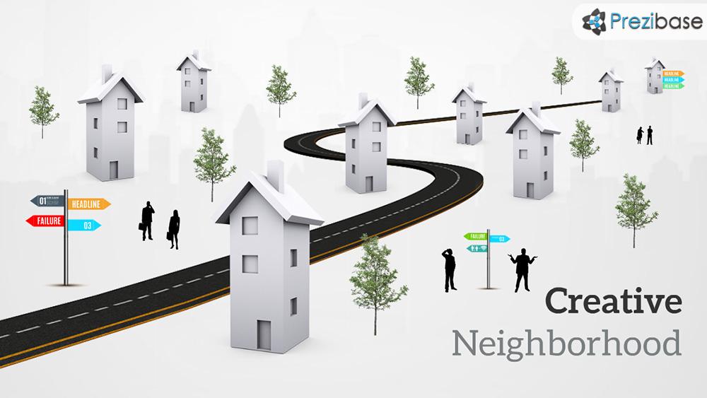 3D street houses road city town prezi presentation template
