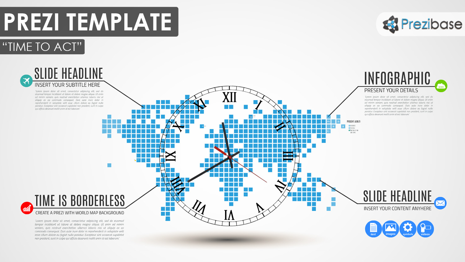 World business dotted squares map earth prezi template