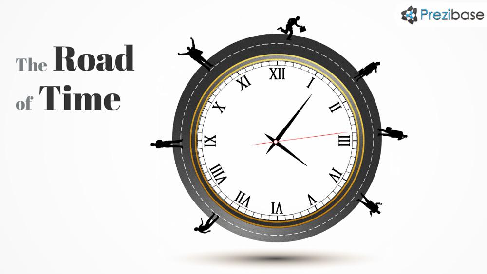 Creative circle road clock business timeline prezi template
