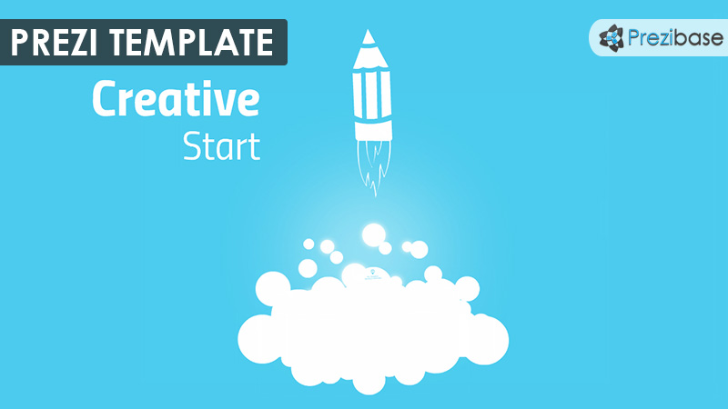 creative start pencil sketch rocket fly prezi template
