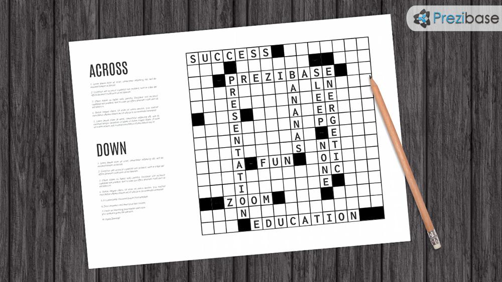 crossword puzzle quizz test trivia game prezi template for presentations