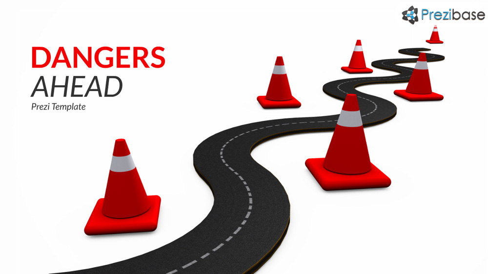 3D road traffic cones risks and obstacles prezi presentation template