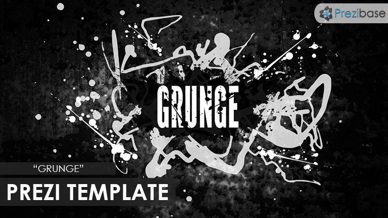 grunge dark abstract creative flow ink spot prezi template