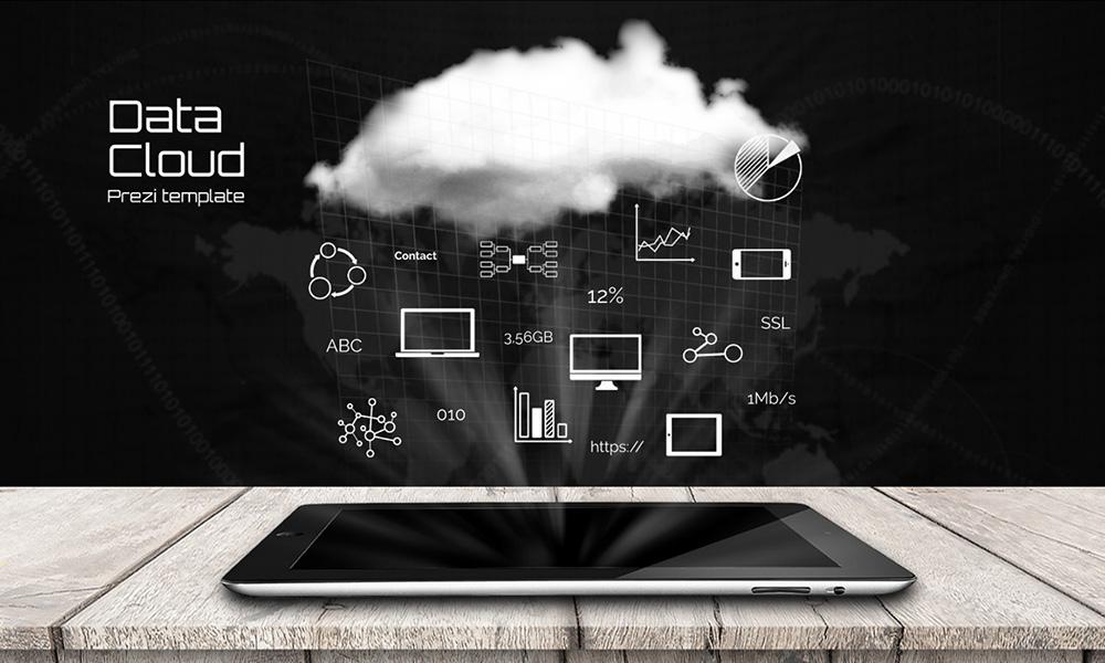 Data cloud 3d storage big data presentation template
