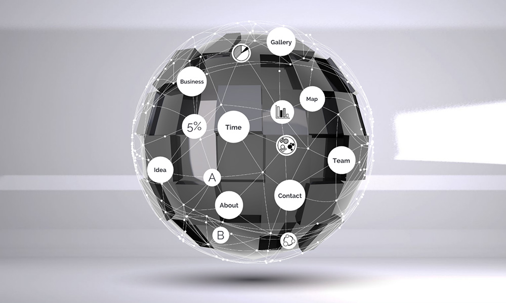 3D data network sphere prezi next presentation template