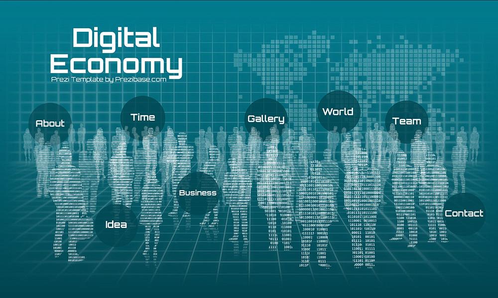 Digital economy 3D cyberspace cyberspace binary code people prezi next presentation template