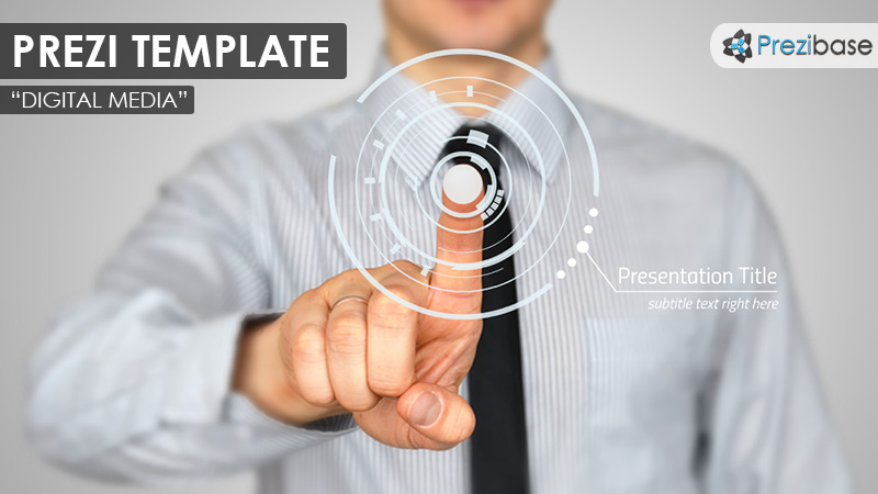 businessman pointing prezi template business comapny
