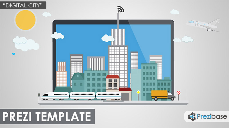 3d city on laptop prezi presentation template