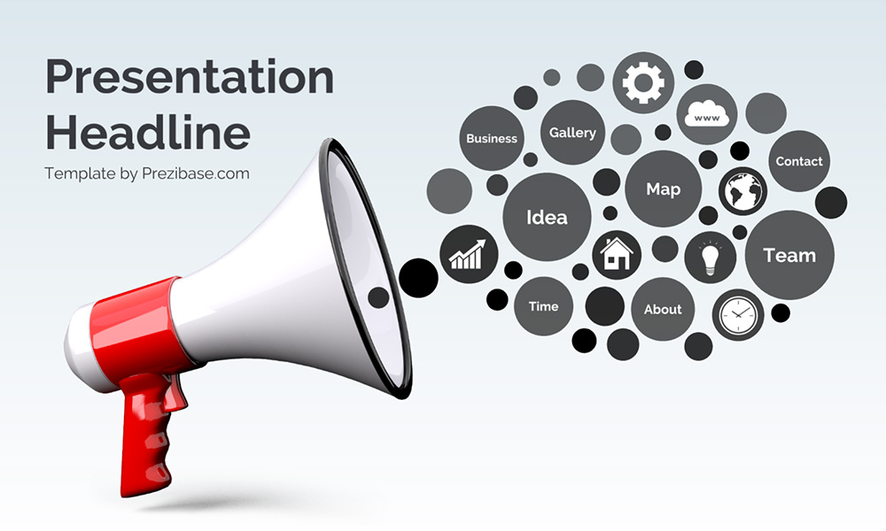 3D Megaphone promotion marketing prezi presentation template