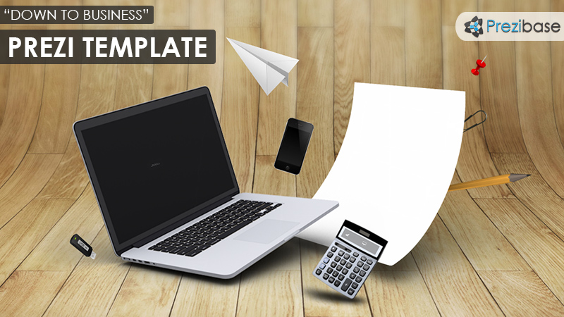 3d business papers laptop office prezi template