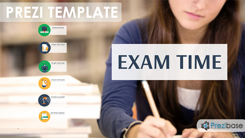 Exam learning library books writing school prezi template