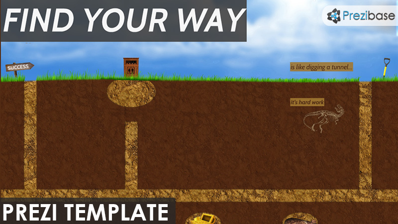 find your way tunnel underground prezi template