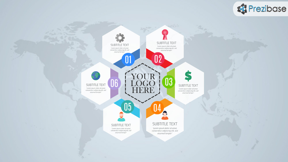 Free hexagon style layout world infographic prezi template