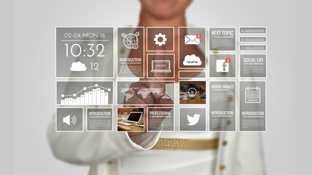touchscreen technology man using interface presentation template