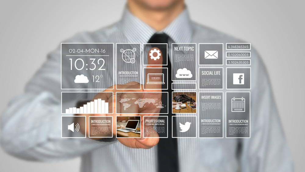 businessman screen prezi template future LCD