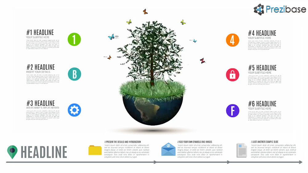 Professional 3D animated world tree presentation template for Prezi