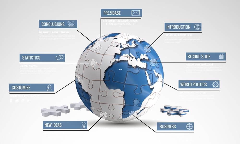 Global issue 3D world as jigsaw puzzle prezi presentation template