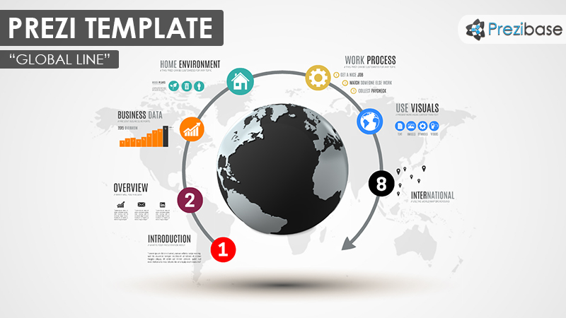 3D business world Prezi presentation template