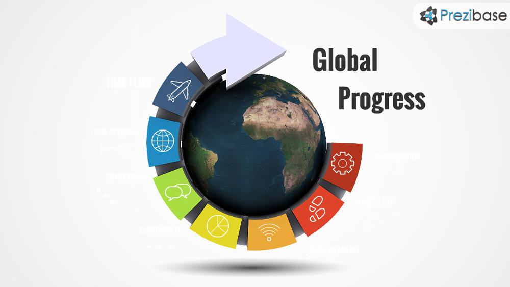 Global world circle arrow 3d prezi presentation template