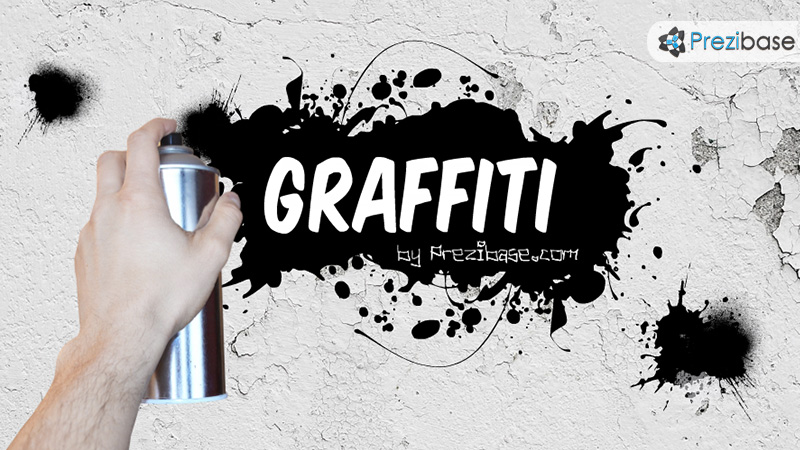 Grafiti art spray paint to a wall prezi template