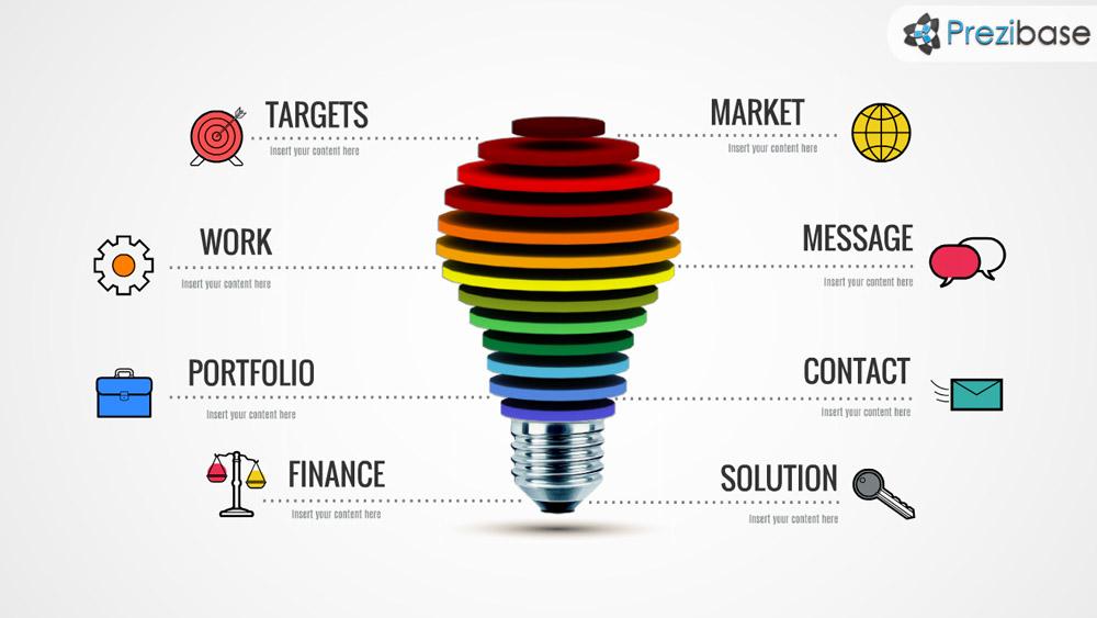Creative layered ideas light bulb prezi presentation template