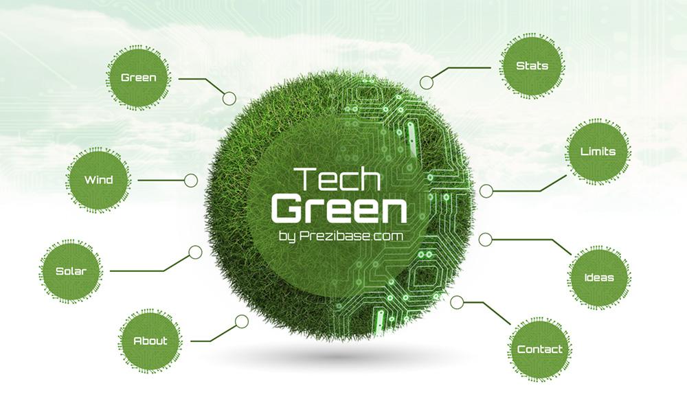 Green renewable energy and nanotechnology 3D sphere Prezi presentation template