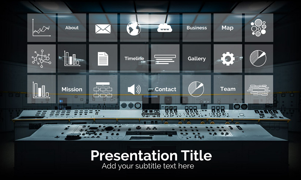 Control station technology room business management prezi next presentation template
