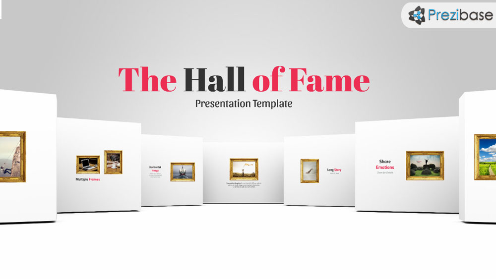 White hallway 3D photo gallery slideshow prezi presentation template