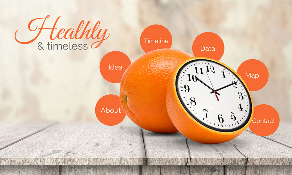 Clock inside orange creative diet and sports health prezi next presentation template