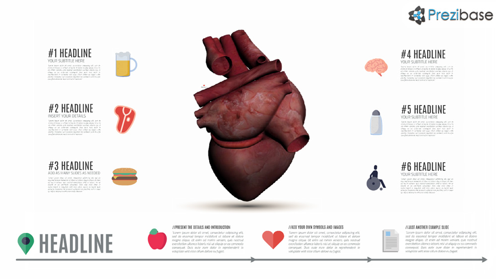 Animated heart 3D Prezi presentation template for health