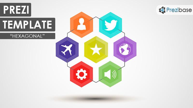 hexagon shapes business creative prezi template