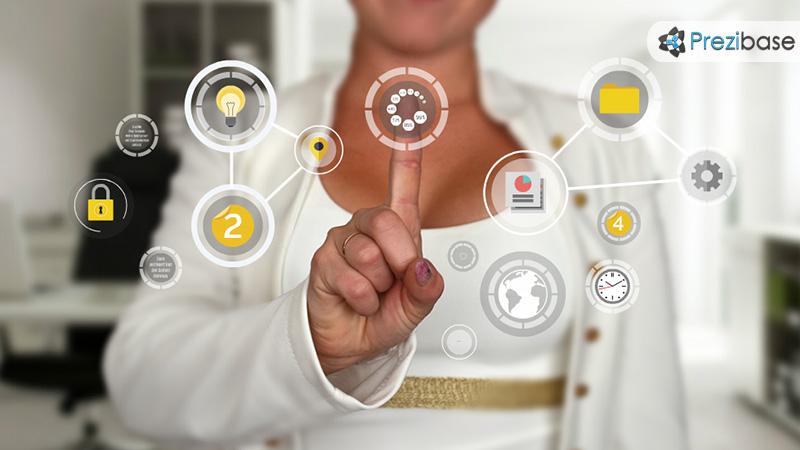Creative technology businesswoman touchscreen application prezi template for presentations hi tech screen