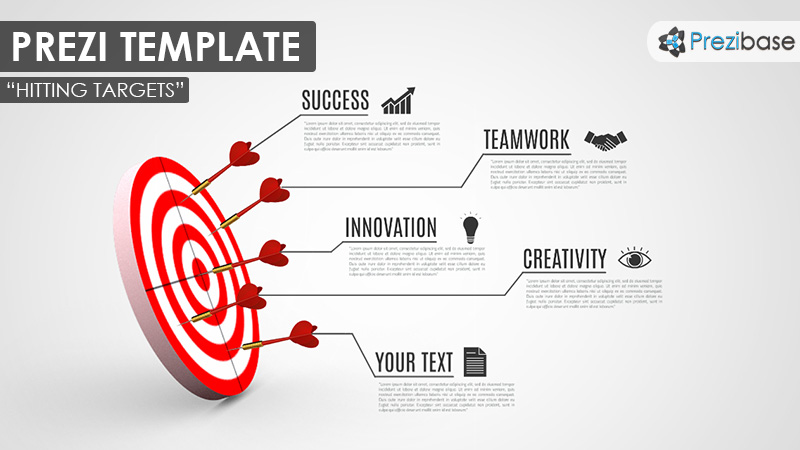hitting targets 3d darts goals strategy plan prezi template
