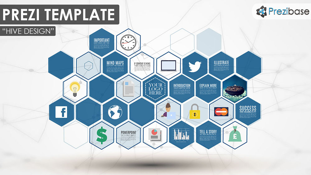 3D hexagons professional multi purpose shapes prezi template for presentations