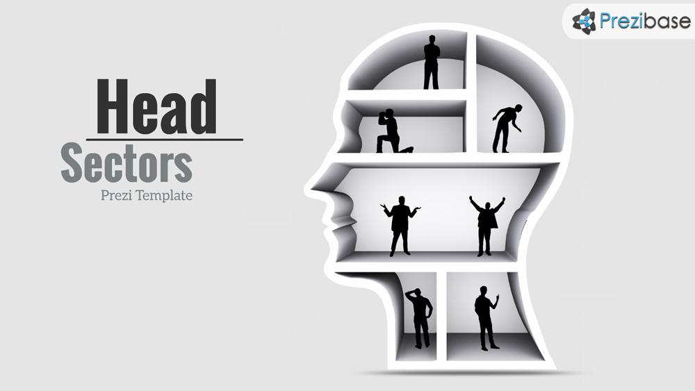 Creative 3D head sectors Prezi presentation template